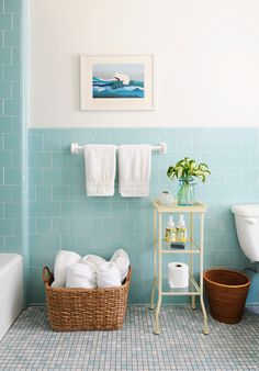 aqua tiles in bathroom                                                       …