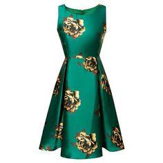 Vintage Sleeveless Round Neck Floral Print Flared Women's Dress