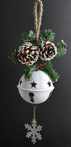 White Washed Tin Sleigh Bell Ornament - Bells - Christmas and Winter - Holiday Crafts Whitewashed Tin Sleigh Bell Ornament - Bells - Christmas and Winter - Holiday Crafts TrinTravels_PugsPlay Christmas Bells, Diy Christmas Ornaments, Rustic Christmas, Christmas Art, Christmas Projects, Winter Christmas, Handmade Christmas, Holiday Crafts, Pinecone Christmas Crafts