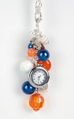 Bag Bling - Orange and Blue - Purse Jewelry Watch Face Included - Broncos Fans Must Have. $15.50, via Etsy.