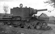 Soviet KV-2 № B-4754, was destroyed in the battle for the town of Ostrov