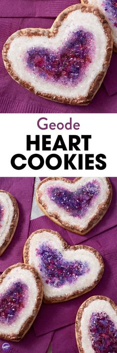 No need to go digging for diamonds…these Geode Heart Cookies will make your kitchen sparkle and shine! Made using colorful rock candy, these glowing heart cookies make a wonderful treat for your special Valentine. Add dimension and color to your heart cookies with Wilton Burgundy and Violet icing colors, and give a treat that is sure to make an impression!