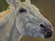 """Colorful Contemporary Horse Art, Equine Painting Farm Animal """"Eunice """" © Patricia A. Griffin-18""""x24""""-Available"""