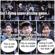 This was funny, but Got7 didnt get their idea from Exo... This game is popular for almost every group. I like Exo, but not everything is inspired by them.
