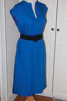 """50s, Dress, 60s, Royal Blue, Architectural Lines, Linen, Size M/L, 38"""" Bust, 32"""" Waist"""