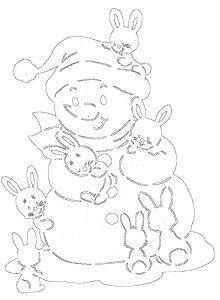 Snowman with hares