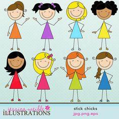 stick figure scrapbooking stickers   Stick Chicks Cute Digital Clipart for Card Design, Scrapbooking, and ...