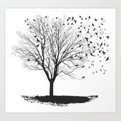 Ravens on a maple tree Art Print by Vladimir Ceresnak - X-Small Maple Tree, Tree Print, From The Ground Up, Buy Frames, Printing Process, Unique Art, Raven, Waiting, Gallery Wall