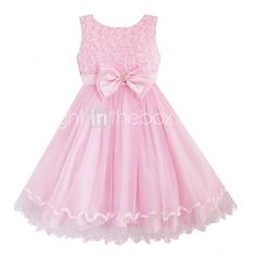 Girl's Solid Pink Roses Flower Sleeveless Knee-length Princess Dress With Bow,Organic Cotton / Organza Summer / Spring / Fall - GBP £13.11