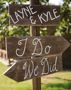 "I love the ""I Do"" / ""We Did"" for wedding and reception at same location!"