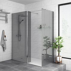 SHOP the Arezzo Grey Tinted Glass Wetroom Screen + Support Arm at Victorian Plumbing UK Walk In Shower, Shower Tub, Shower Doors, Wet Room Screens, Cubicle Door, Wet Rooms, Room Tiles, Safety Glass, Shower Enclosure