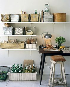 Wire baskets on shelfs for storage