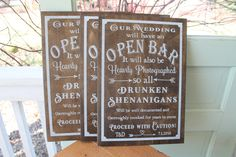 Open Bar sign wedding sign personalized Wedding Dessert bar Sign Rustic Cottage Chic by Primitiveweddings on Etsy https://www.etsy.com/listing/285719701/open-bar-sign-wedding-sign-personalized