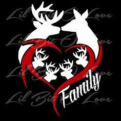 Buck & Doe Heart Deer Family Vinyl Decal Sticker Customize to ...