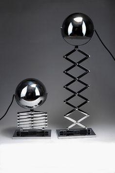 Dorothee Becker, Scissor lamp, 1968. Made by Design M, Ingo Maurer, Munich. Chrome-platted metal sheet.