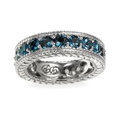 This sterling silver London blue topaz and white zircon reversible eternity band ring is absolutely gorgeous. This beautiful ring is perfect for that special someone in your life.