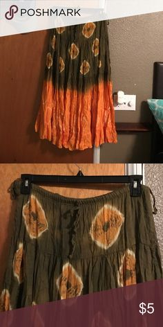 Skirt Long flowy skirt with drawstring. Army green and orange. Lakhay's Collection Skirts A-Line or Full