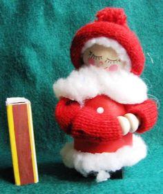 Vintage Wood Christmas Girl Doll Elf Gnome Santa Tomte Sweden Figurine Red White