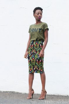 AHHHHH!!!!  I freakin loooveee this outfit! I need it.   Ethnic fusion --- pencil skirt with t shirt