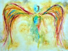 """ANGEL PAINTINGS AND ANGEL ART Title: """"Green Angel""""   Visit our page at http://www.ivanguaderrama.com/ Buy Angel Art Prints   http://fineartamerica.com/profiles/ivan-guaderrama-art-gallery.html"""