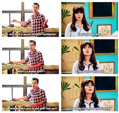 """Oh, you have a bunch of metal toothpicks!"" {gif} #newgirl"