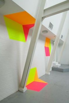 And another way to use NEON colours in spatial art. Or is it Design? Henriëtte Van't Hoog breaks geometry. Interior Architecture, Interior And Exterior, Interior Design, Neon Painting, Environmental Design, Commercial Interiors, Color Inspiration, Cube, House Design