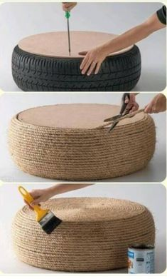 Outdoor seating. Use nylon rope.