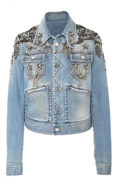 This **Roberto Cavalli** jacket features a denim construction with a slim fit.