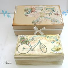 Paris Bicycle Hand Decorated Wooden Box with Gift Box £16.95