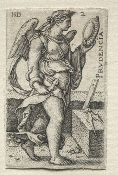 Hans Sebald Beham (1500-50) - The Knowledge of God and the Seven Cardinal Virtues: Prudence - Prudencia (engraving); Cleveland Museum of Art