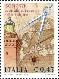 Lantern of Genoa, map and compass Postage Stamp Art, Going Postal, Collage Making, First Day Covers, City Maps, Tampons, Mail Art, Stamp Collecting, Travel Posters