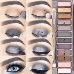 maquillage smoky eyes fete yeux bleus fards gris argent makeup augen hochzeit ideas tips makeup Grey Smokey Eye, Smoky Eyes, Smoky Eye Makeup, Eye Makeup Steps, Skin Makeup, Makeup Eyeshadow, Makeup Brushes, How To Smokey Eye, Makeup Remover
