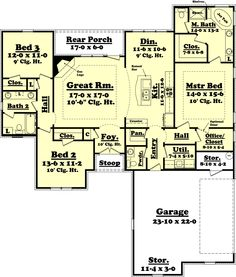 Ranch Style House Plan - 3 Beds 2.5 Baths 1800 Sq/Ft Plan #430-60 Main Floor Plan - Houseplans.com