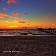 Sunset over Glenelg beach. Adelaide Australia
