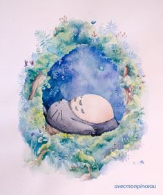 Fan art of my neighbor Totoro Watercolor Anime Plus, Anime W, Girls Anime, Manga Girl, Anime Yugioh, Anime Pokemon, Studio Ghibli Art, Studio Ghibli Movies, Animation