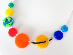 Acrylic Planets Necklace SPACE STUFF by GlitterbombUK on Etsy, £16.00