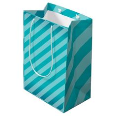 Teal Stripes Pattern Medium Gift Bag - simple clear clean design style unique diy