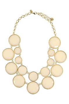 August wedding: kate spade new york accessories Bryce Bauble Necklace. Cream and gold theme to match the floral sheath by Matthew Williamson + light gold sparkly pumps