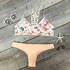 Breezy Does It Floral Crochet Bikini Set