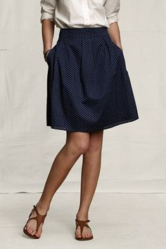 Make a skirt from polka dot fabric; pair with whit blouse & sandals.