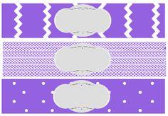 free printable baby shower water bottle label purple