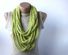Vegan scarf Light green infinity scarf Crochet chain necklace Gift for women