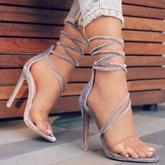 "ideservenewshoesblog: ""New Lewk - Grey Velvet Heels By Lolashoetique """