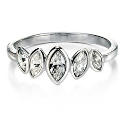 Ring - Marquise cluster ring with CZ in silver  - PA Jewellery