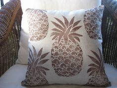 Brown Pineapple on Natural Beach Decor Pillow