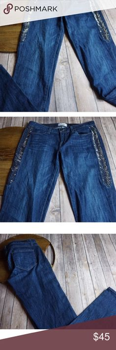 """Paige dark denim jeans jimmy jimmy skinny sz 26 Gently used with no flaws, Paige side panel bling jeans, Please see photos for exact details  Measurements waist rise 8"""" inseam 33"""" length 41"""" Paige Jeans Jeans Skinny"""