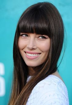 More Angles of Jessica Biel Long Straight Cut with Bangs - StyleBistro
