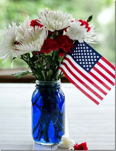 Red, white, and blue centerpiece - It All Started With Paint
