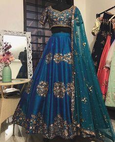 Raw silk blue and teal Lehenga Set with pure zardosi and zari handwork. Red Lehenga, Indian Lehenga, Raw Silk Lehenga, Anarkali, Indian Wedding Outfits, Bridal Outfits, Indian Outfits, Bridal Dresses, Designer Bridal Lehenga