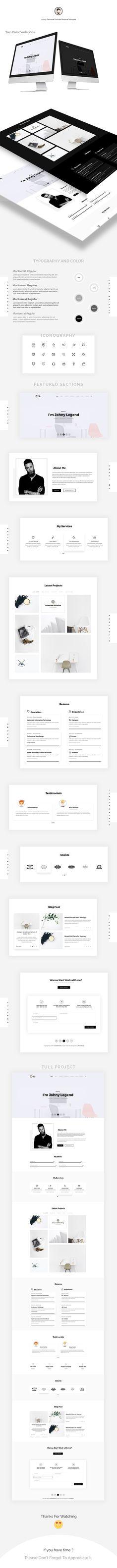 Vedi questo progetto @Behance: \u201cJohny Personal Portfolio Template\u201d https://www.behance.net/gallery/52881357/Johny-Personal-Portfolio-Template